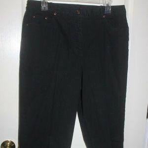 Ruby Rd capri crop pants BLACK Cotton Spandex 12
